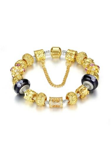 Altın Dore Kristal Lila Charm Bileklik Angemiel